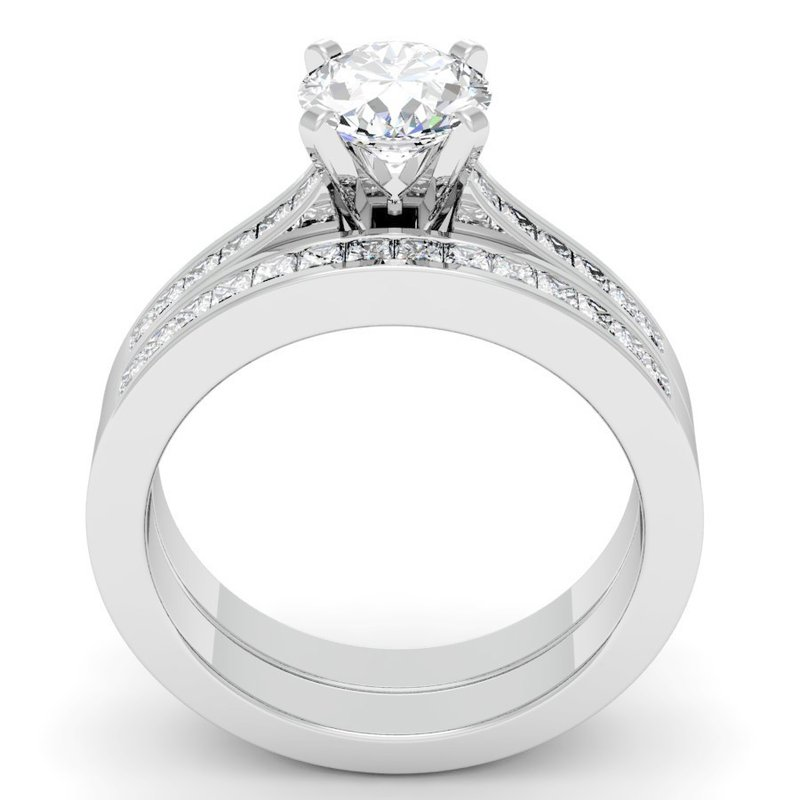 California Coast Designs Princess Cut Diamond Engagement Ring with Matching Wedding Band