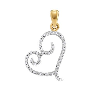 10kt Yellow Gold Womens Round Diamond Curled Heart Pendant 1/10 Cttw