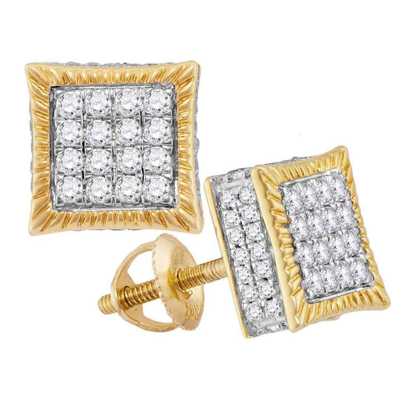 Gold-N-Diamonds 10kt Yellow Gold Mens Round Diamond Square Fluted Cluster Stud Earrings 3/4 Cttw