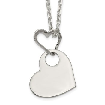 Sterling Silver Open Heart Holding A Heart Dangle 16 inch Necklace