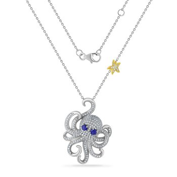 gorgeous 14K octopus necklace with 209 diamonds 0.89ct & 2 blue sapphires in eyes 0.35ct 31mm long x 23mm wide