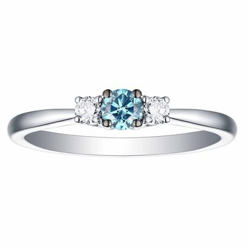 Smiling Rocks 0.25Ct Lab Grown Blue Color Diamond with G-H/VS1 Side Diamond Three Stone Solitaire Ring