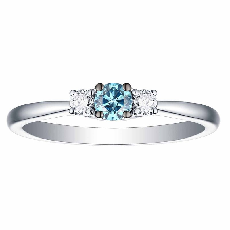 Smiling Rocks Smiling Rocks 0.25Ct Lab Grown Blue Color Diamond with G-H/VS1 Side Diamond Three Stone Solitaire Ring