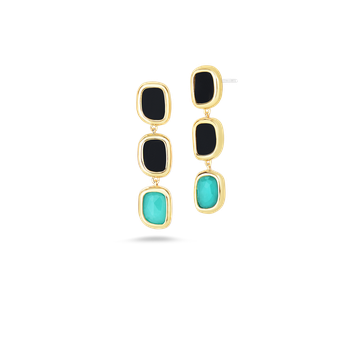 18KT GOLD DROP EARRINGS WITH BLACK JADE AND AGATE