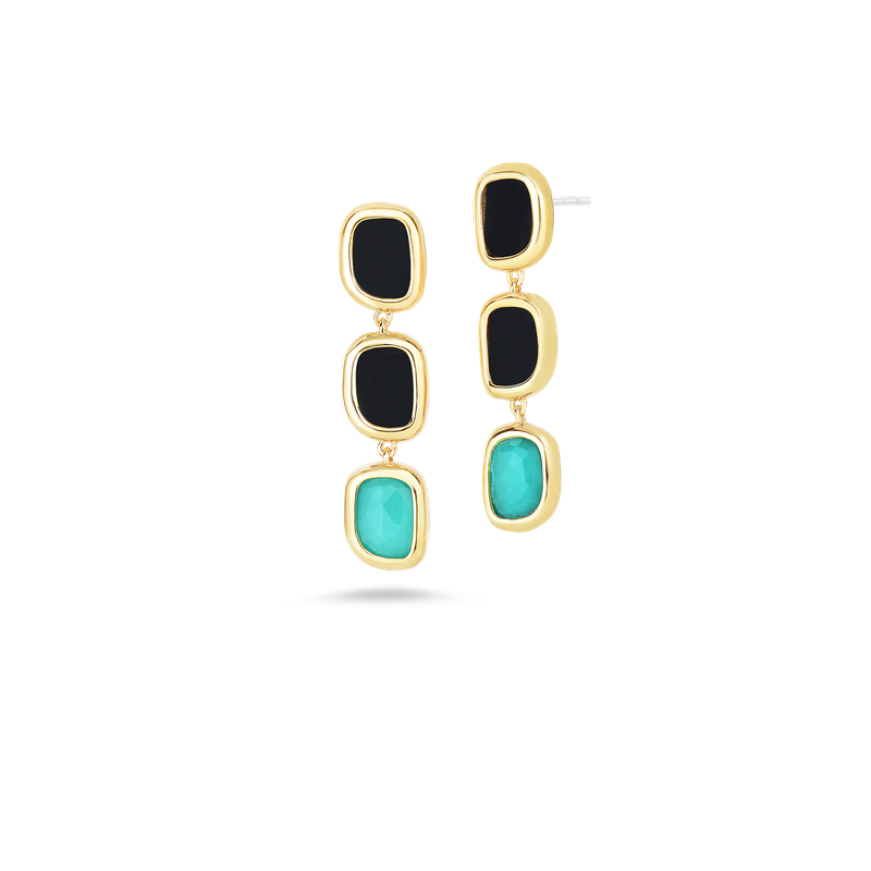 Roberto Coin 18KT GOLD DROP EARRINGS WITH BLACK JADE AND AGATE