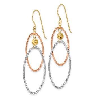 14K Tri-color Diamond Cut Open Ovals Dangle Earrings