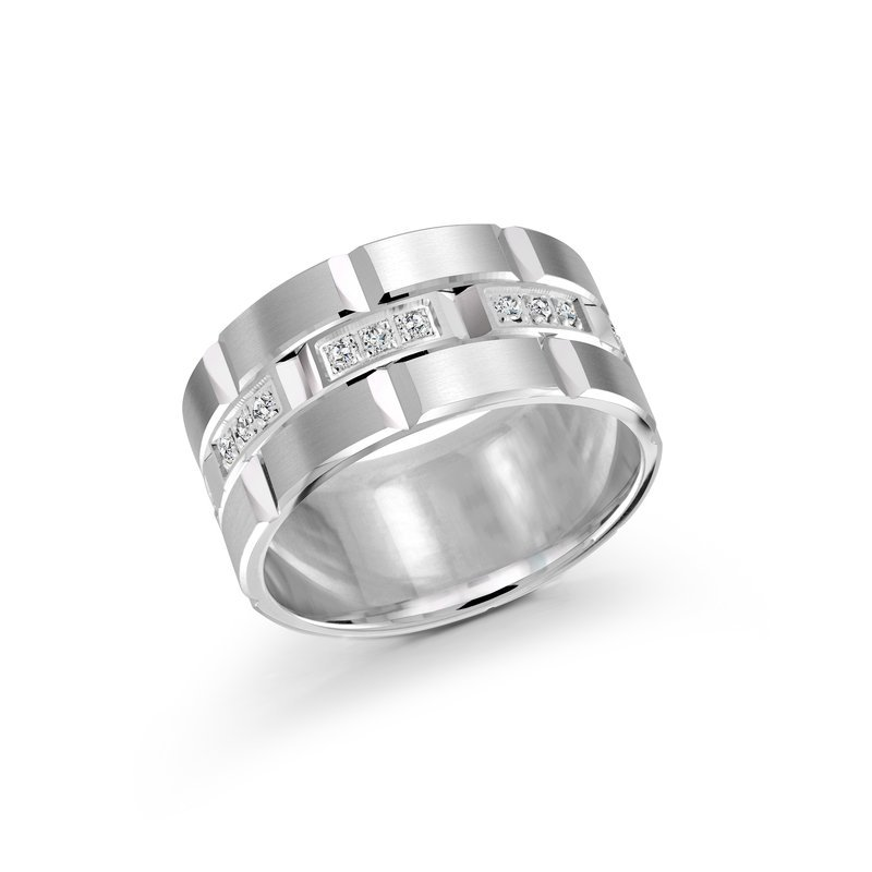 Mardini 11mm all white gold brick motif band, embelished with 24X0.015CT diamonds