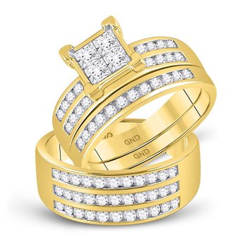 10kt Yellow Gold His & Hers Princess Diamond Cluster Matching Bridal Wedding Ring Band Set 1-5/8 Cttw