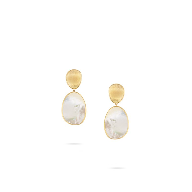 Marco Bicego Lunaria Medium Gold & White Mother of Pearl Earrings