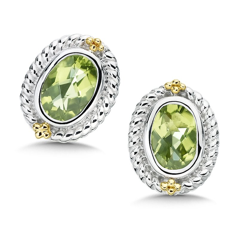 Colore Sg Sterling Silver, 18K Gold and Peridot Earrings