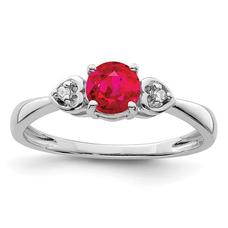 Quality Gold Sterling Silver Rhodium Plated Diamond and Ruby Ring