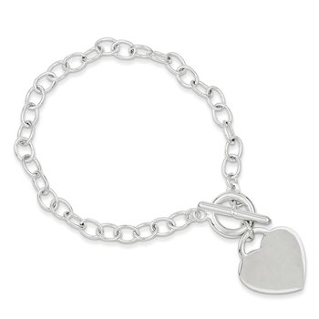 Sterling Silver Oval Link Engraveable Heart Bracelet