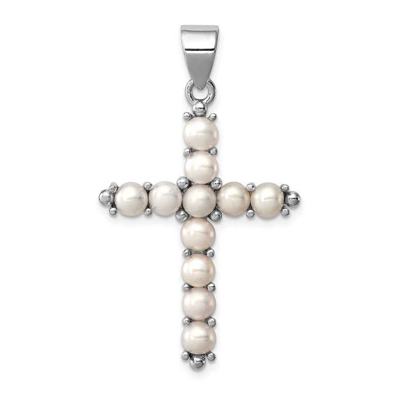 Quality Gold Sterling Silver Rhodium-platedFW Cultured Pearl Cross Pendant
