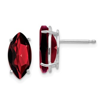 14k White Gold 10x5mm Marquise Garnet earring
