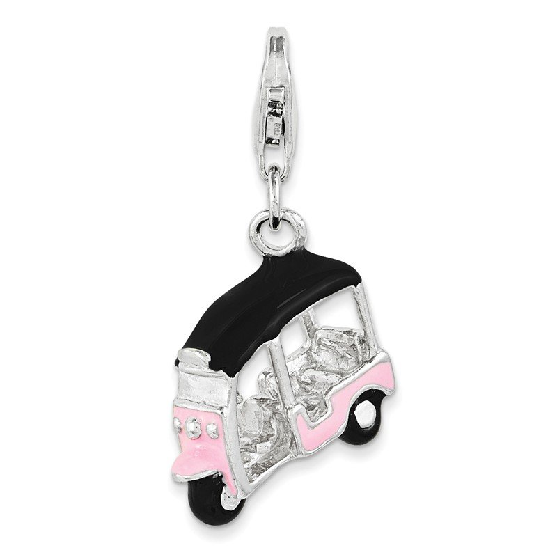 Quality Gold Sterling Silver RH Enameled Pink 3D Golf Cart Charm