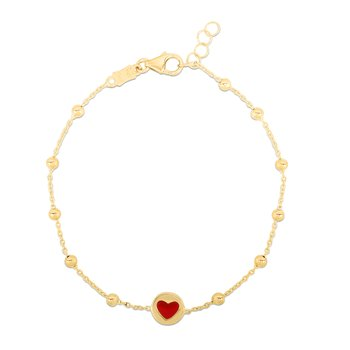 14K Gold Red Heart and Bead Bracelet