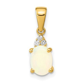 14k Austrian Opal and Diamond Pendant