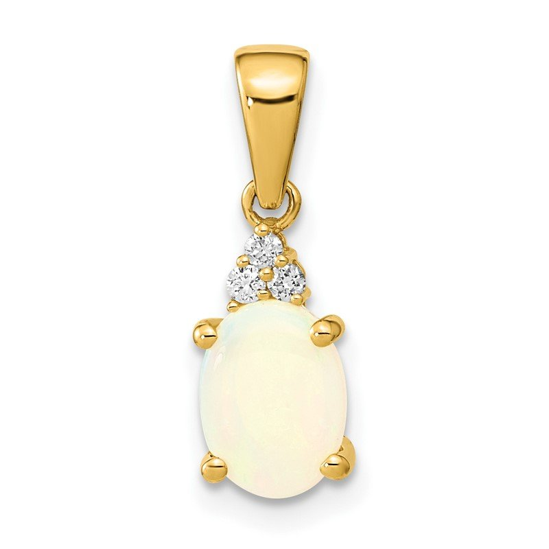 Quality Gold 14k Austrian Opal and Diamond Pendant