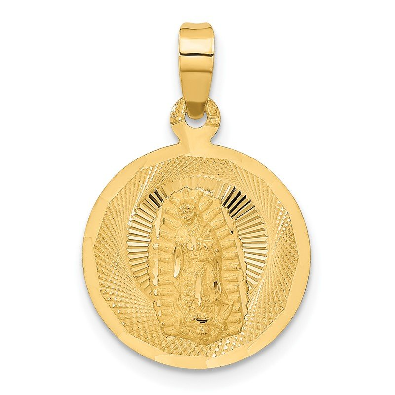 Quality Gold 14K Polished D/C Lady Of Guadalupe Circle Pendant