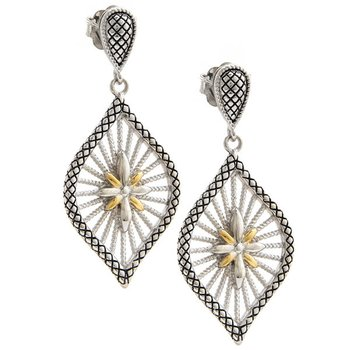 18KT & STERLING SILVER EARRINGS