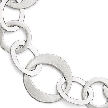 Leslie's Sterling Silver Polished and Brushed Link Bracelet