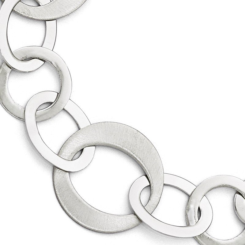 Leslie's Leslie's Sterling Silver Polished and Brushed Link Bracelet