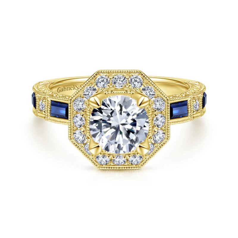 Art Deco 14K Yellow Gold Octagonal Halo Round Sapphire and Diamond Engagement Ring