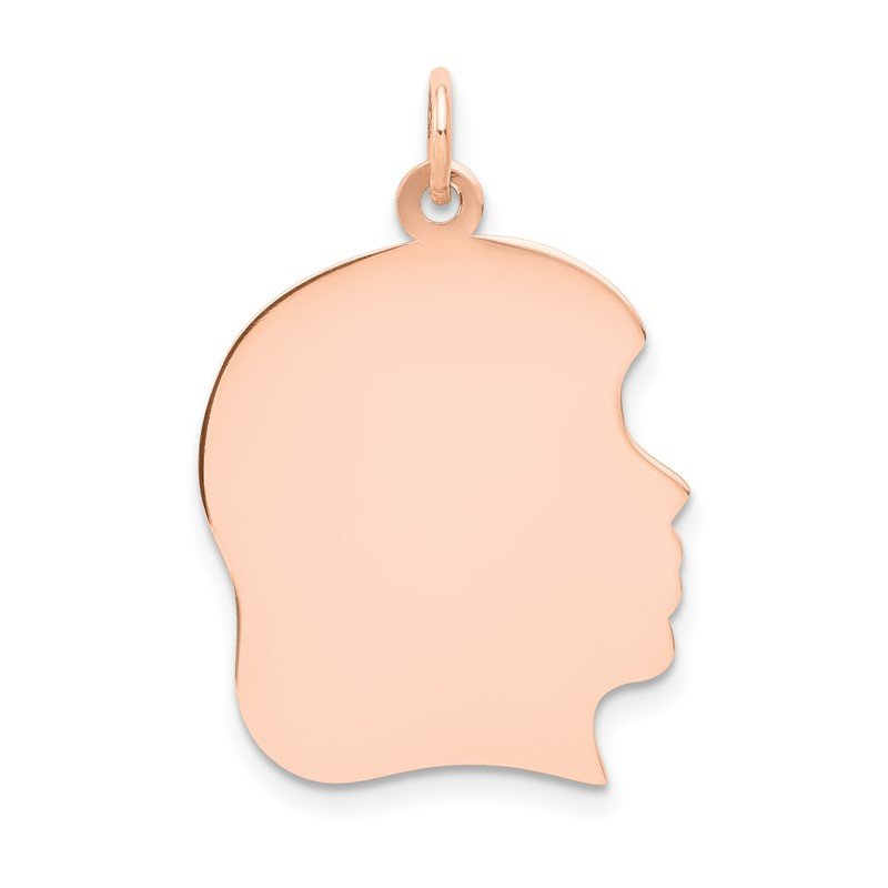 Quality Gold 14k Rose Plain Large.018 Gauge Facing Right Engraveable Girl Head Charm