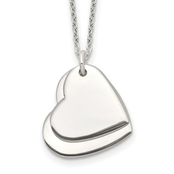 Sterling Silver Polished Double Heart Necklace