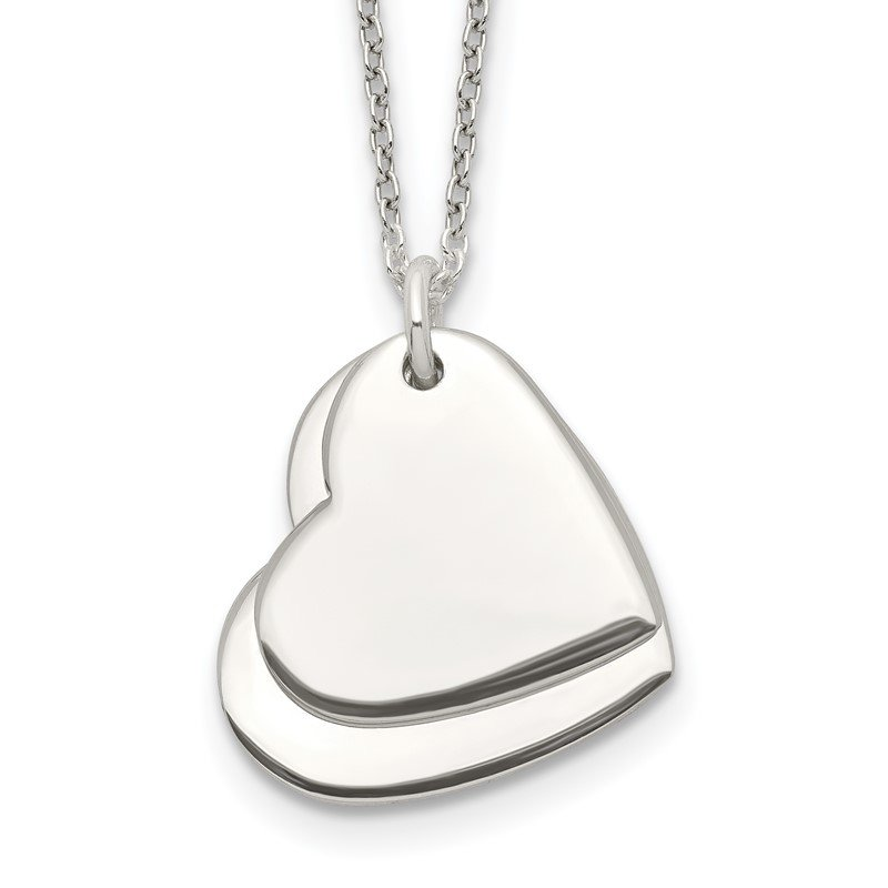 Quality Gold Sterling Silver Polished Double Heart Necklace