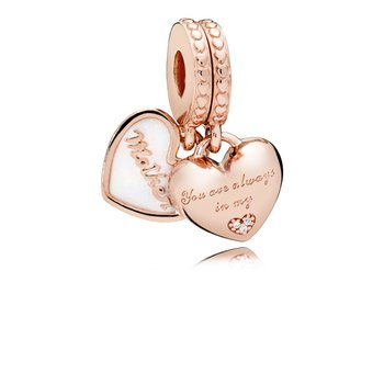 Mother Daughter Hearts Dangle Charm, Pandora Rose™, Silver Enamel Clear Cz