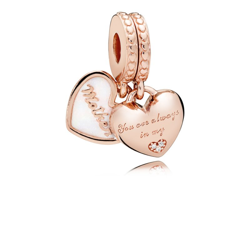 PANDORA Mother Daughter Hearts Dangle Charm, Pandora Rose™, Silver Enamel Clear Cz
