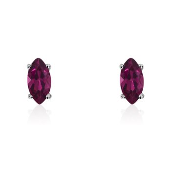 14k White Gold Ruby Marquise Earrings
