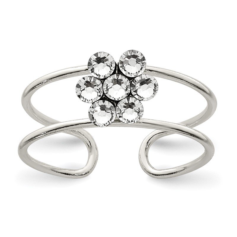Quality Gold Sterling Silver CZ Flower Toe Ring