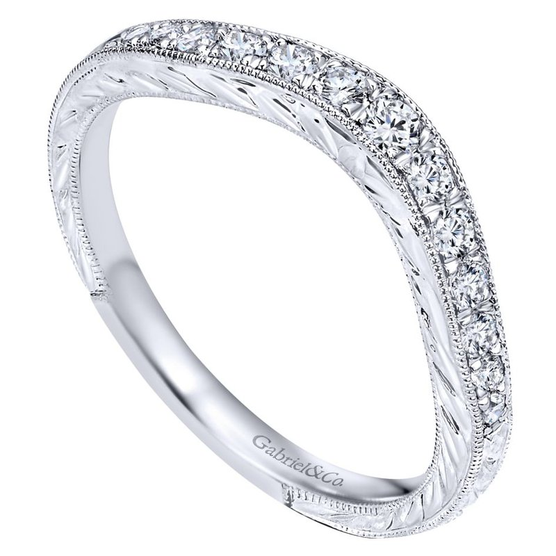 Gabriel Bridal Vintage Hand Carved 14k White Gold Curved Micro Pavé Set Band