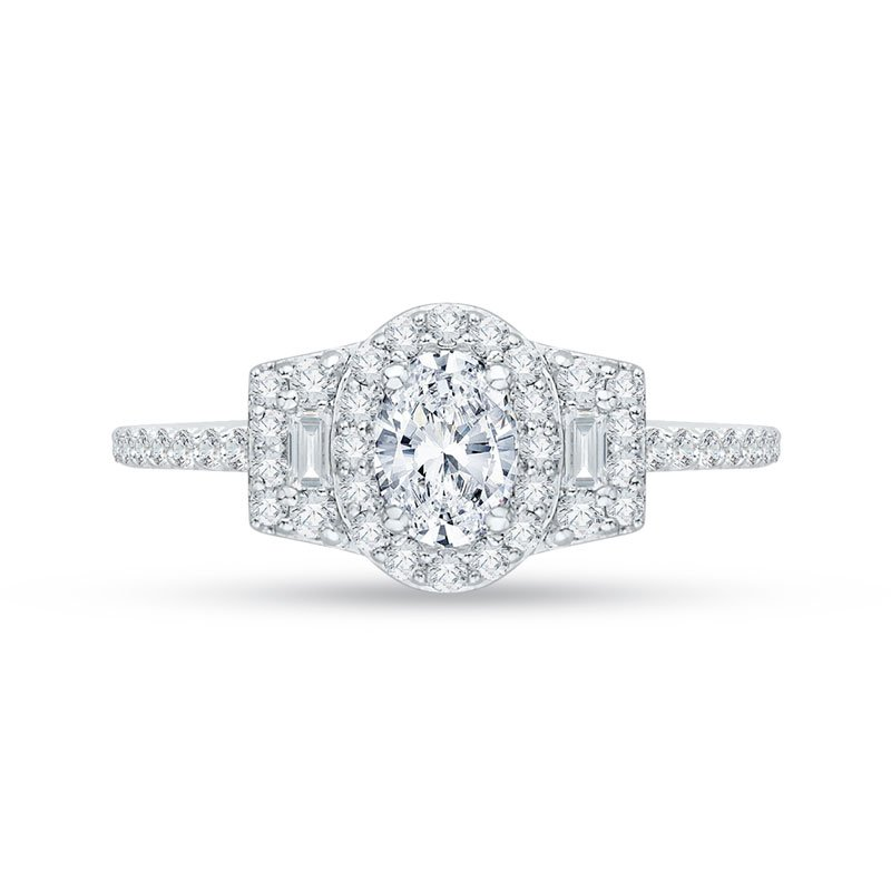 Promezza Oval Diamond Halo Engagement Ring In 14K White Gold