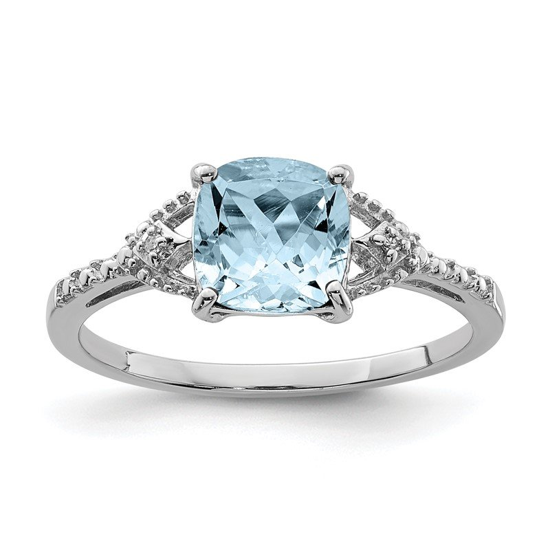 Quality Gold Sterling Silver Rhodium Plated Diamond and Aquamarine Ring