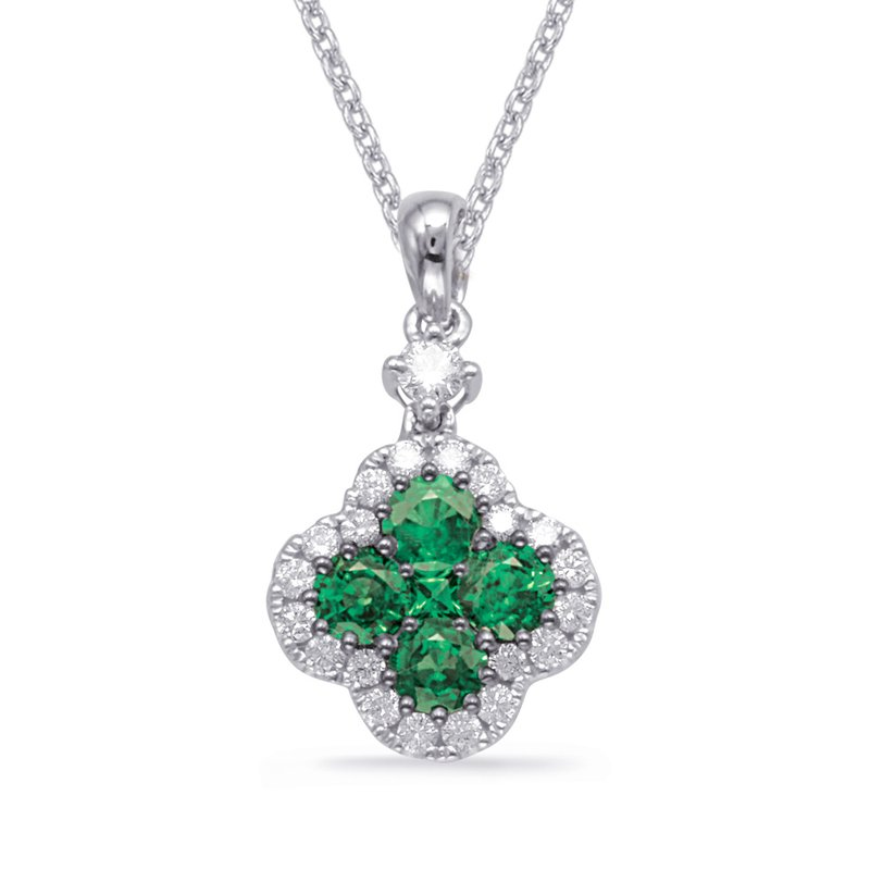 S. Kashi  & Sons White Gold Emerald & Diamond Pendant