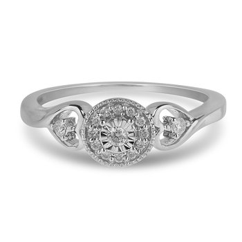 14K WG Diamond Promise Ring in Miracle Setting Milgrained Edge and Heart Shaped Shoulder