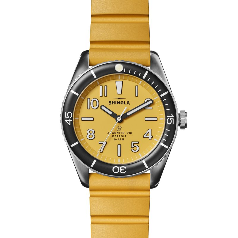 Shinola The Duck 42mm Stainless Canary Yellow Mens Watch