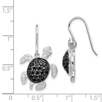 Cheryl M Sterling Silver Black and White CZ Turtle Shepherd Hook Dangle Ear