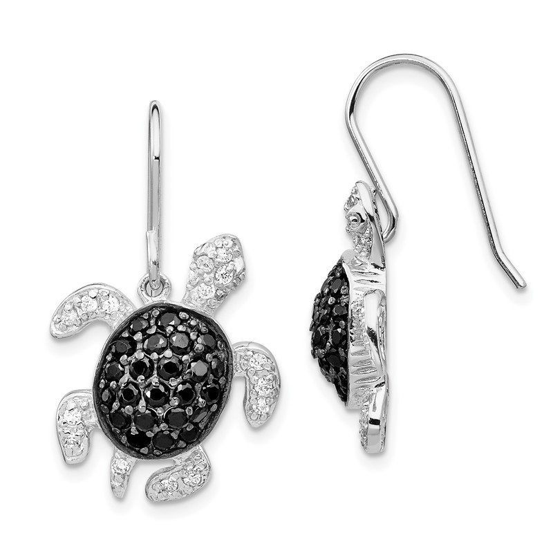 Cheryl M Cheryl M SS Rhodium-plated Black & White CZ Turtle Dangle Earrings