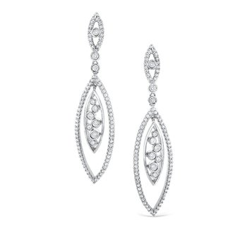 Diamond Earrings in 14K White Gold with 171 Diamonds Weighing 1.71 ct tw