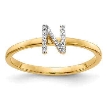 14k White Gold Diamond Initial N Ring