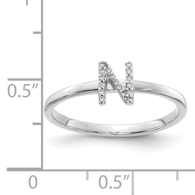 Quality Gold 14k White Gold Diamond Initial N Ring