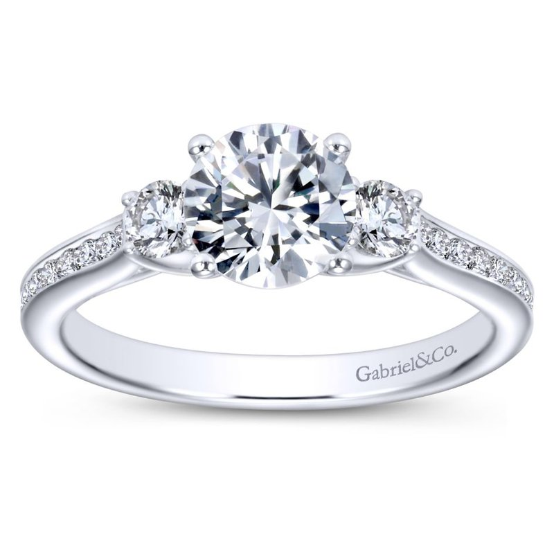 Gabriel & Co. New York 14K White Gold Round Three Stone Diamond Engagement Ring