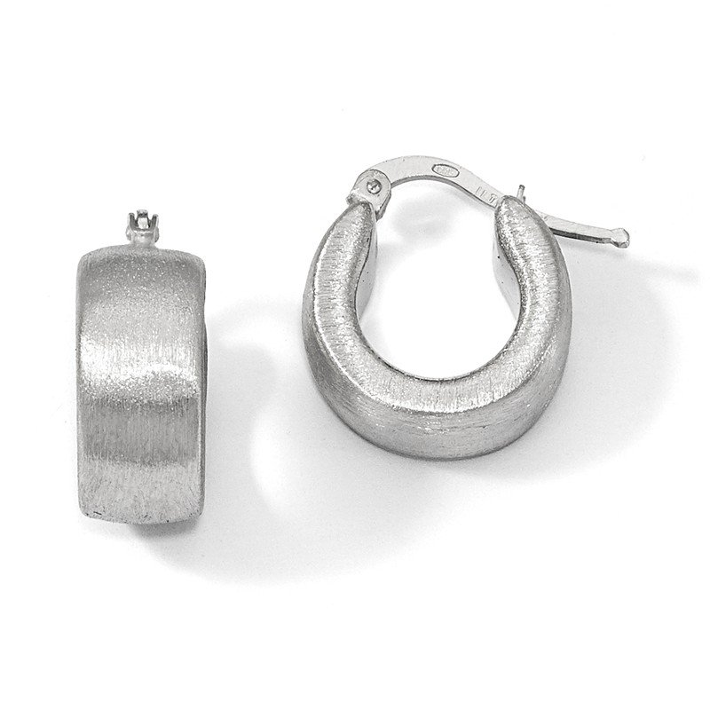 Leslie's Leslie's Sterling Silver Scratch-finish Hoop Earrings