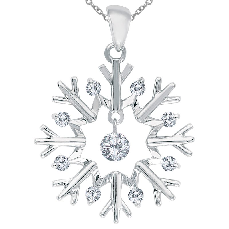 Color Merchants 10K White Gold Dashing Diamonds Snowflake Pendant (.16 carat)