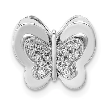 14k White Gold Diamond Butterfly Chain Slide