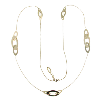 18KT GOLD LONG OVAL STATION NECKLACE